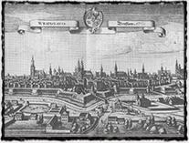 Město Vratislav, kde Zikmund pobýval v prvních měsících roku 1420 a kde došlo k vyhlášení I. křížové výpravy proti husitům (veduta Matthäuse Meriana st. z r. 1642).