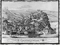 Vyšehrad na zobrazení z poloviny 19. století (autor neznámý)